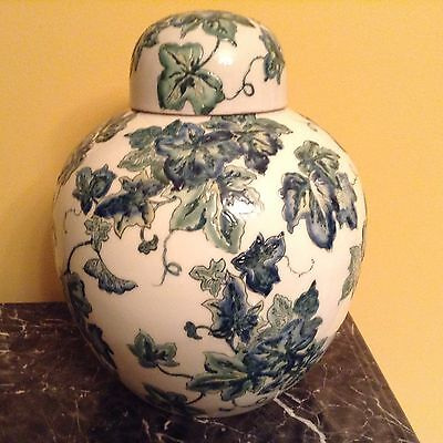 Vintage Accent Ginger Jar With Matching Lid White With Green Ivy Pattern