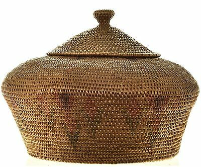 Vintage Early 1900s Northwest Coast Indian Lidded Collectible Basket