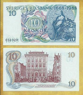 Sweden 10 Kronor 1968 Comm Money Bill P-56a Unc Currency Note ***USA SELLER***