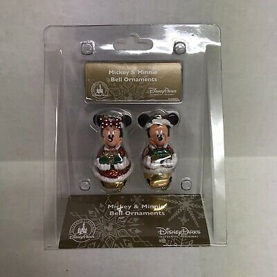 Authentic Disney Parks Santa Santa Mickey and Minnie Mouse Bell Ornament Set