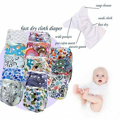 Reusable Baby Cartoon Animal Washable Diaper Infant Adjustable Cloth Nappy Cover