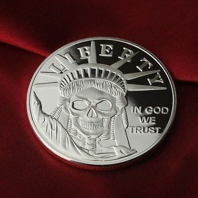 1 Troy oz .999 Fine Silver Round Bar Bullion / Statue of Liberty  Skull  SB1D9