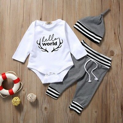 3pcs Cotton Newborn Baby Boy Girl Romper Tops Long Pants Hat Outfit Clothes Sets
