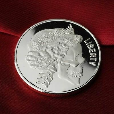 1 Troy oz  .999 Fine Silver Round Bar Bullion / Skull  Queen /  G3SB1D7