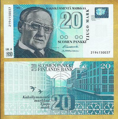 Finland 20 Markkaa 1997 Money Bill P-123 Unc Currency Note ***USA SELLER***