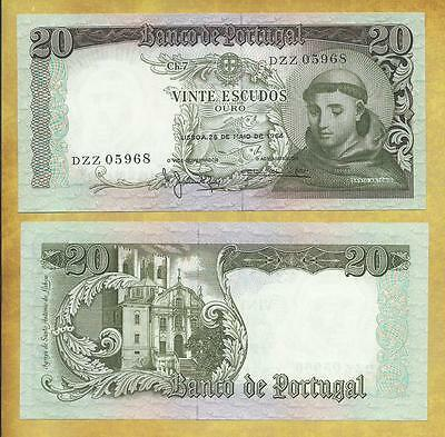 Portugal 20 Escudos 1964 Money Bill P-167b Unc Currency Note ***USA SELLER***
