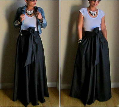 USA Vintage Women Stretch Flared High Waist Pleated Swing Long Maxi Skirt Dress