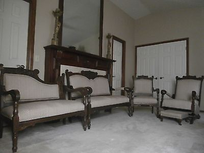 Antique Eastlake Victorian Parlor Settee - Couch Loveseat Chair Rocker Furniture