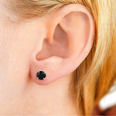 1ct Round Cut Black Diamond Stud Earrings in 14K White Gold Over Screw Back