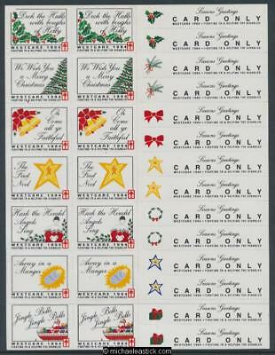 1994 Full sheet 14 Westcare Christmas seals & 14 card stickers