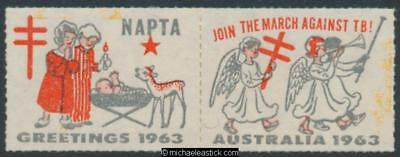 1963 pair, Join the march against TB, NAPTA, Christmas seal