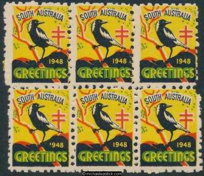 1948 Block of 6, South Australia Greetings with Magpie, Anti TB Christmas seal