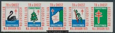 1975 The Australian TB and Chest Association, WA Division, strip of 5 stickers