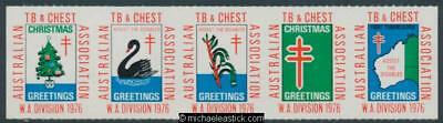 1976 The Australian TB and Chest Association, WA Division, strip of 5 stickers