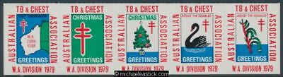 1979 The Australian TB and Chest Association, WA Division, strip of 5 stickers