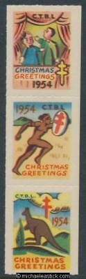 1954 vertical strip of 3, Citizens Tuberculosis League CTBL Christmas seals
