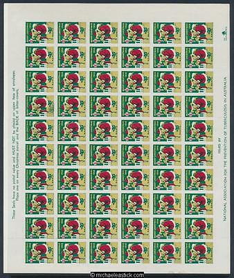 1956 Imperf proof set full sheet of 60 Christmas seals NAPTA