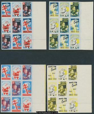 1950 Imperf Proof set of 4 strips of 4, Anti TB Assn