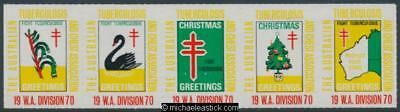 1970 The Australian TB and Chest Association strip of 5 stickers