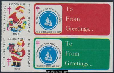 1987 block of 4, The TB and Chest Assn Christmas seals and 2 labels