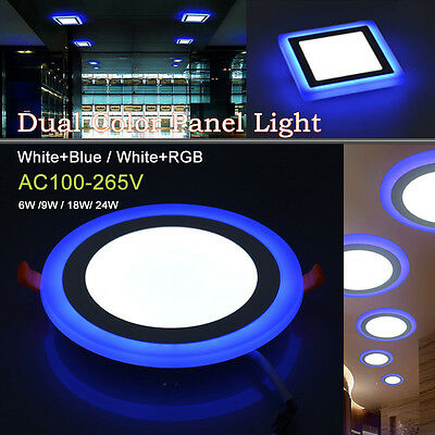Dual Color LED Recessed Ceiling Downlight Panel Spotlight Home Office Lamp Kits