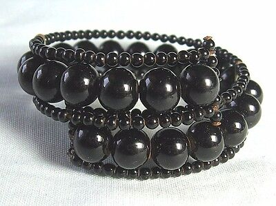 "Victorian Black French Jet Glass Bead Flexible Cuff Bracelet 1/2"" wide"