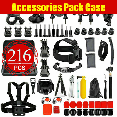 Case Chest Head Floating Monopod Accessories 216pcs Pack GoPro Hero 7 6 5 4 3+2