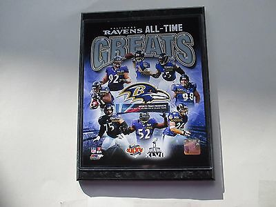 """Baltimore Ravens All-Time Greats Players Photo Mounted On A """"9 X 12' Black Marbl"""