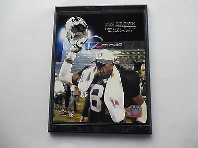 """Tim Brown Oakland Raiders 1000 Career Catches Photo Mounted On A """"9 X 12"""" Black"""