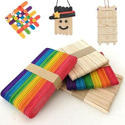 50Pcs Fancy Wooden Ice Cream Cake Popsicle Sticks For Party Kids DIY Crafts UK