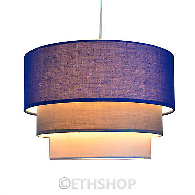 Modern Easy Fit 3 Tier Ceiling Light Fabric Lamp Shade Lampshades Pendant Shades