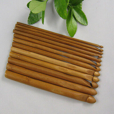 12X Bamboo Wooden Handle Crochet Hooks 3mm-10mm Knit Handcraft Needle Yarn Sweet