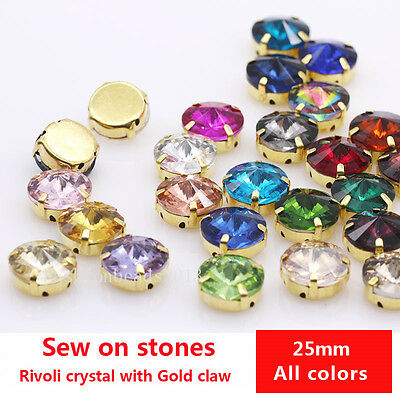 6p 25mm round crystal glass sew on faceted rhinestones gold plate Big stones Gem