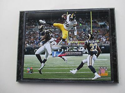 """LeVEON BELL PITTSBURGH STEELERS TOUCHDOWN LEAP PHOTO MOUNTED ON A """"9 X 12"""" BLACK"""