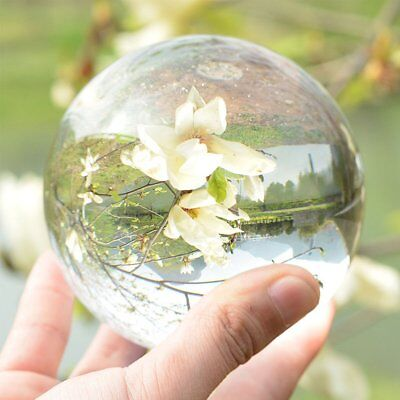 New Natural Clear Crystal Magic Healing Ball 100mm Sphere ORB Wood Stand Box UK