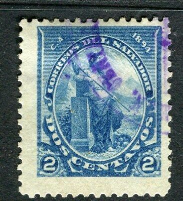 EL SALVADOR;  1894 early classic issue fine used 2c. value