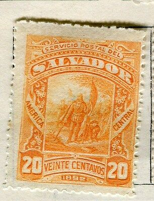 EL SALVADOR;  1892 early classic issue Mint hinged 20c. value