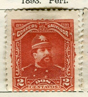 EL SALVADOR;  1893 early classic issue Mint hinged 2c. value