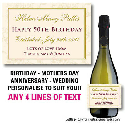 Personalised Champagne Prosecco Bottle Label Birthday Mothers Day Sticker 067