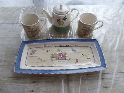 Wedgwood Sarah's Garden Tea For Two Set Signed Duchess Of York Tray Defect