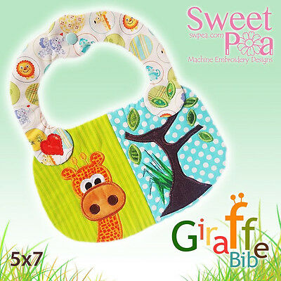 Machine Embroidery Pattern Giraffe baby bib ITH in the hoop 5x7