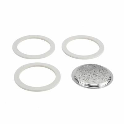 Bialetti - 3 Rubber Seals & 1 Filter Plate for 3 Cup Moka, Dama & Break Models