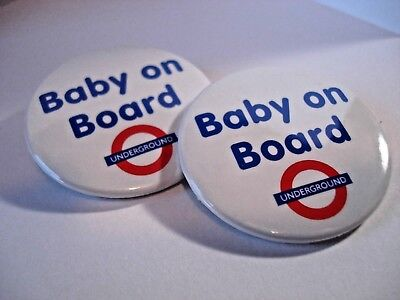 2 x BABY ON BOARD -  38mm HIGH QUALITY  BUTTON BADGE / FRIDGE MAGNET