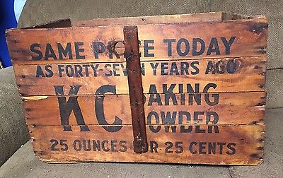 Vintage KC Baking Powder Wooden Crate WITH ORIGINAL SHIPPING TAG