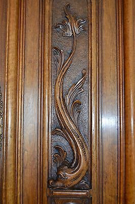 French Antique Neoclassical Dolphin Carved Salvaged Wood Door Panel - Cupboard