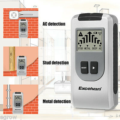 4 in 1 Multi Detector Stud Center Finder Metal AC Live Cable Wires Scanner LCD