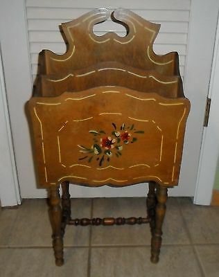 Lovely Vintage Tole Style Painted Wood Magazine Stand / Record Storage Holder