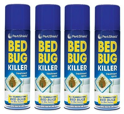 4x Pest Control Bed Bug Killer Aerosol Treatment Spray Eliminate Home Bed 200ml