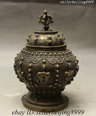 Old Tibet Royal Pure Bronze 8 Auspicious Symbol Statue Incense Burner Censer Pot