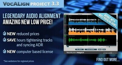 New SynchroArts VocALign Project 3 UPGRADE from Non-iLok VocALign Project Mac/PC